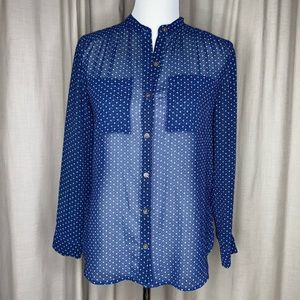 Two by Vince Camuto Sheer Button Down Shirt